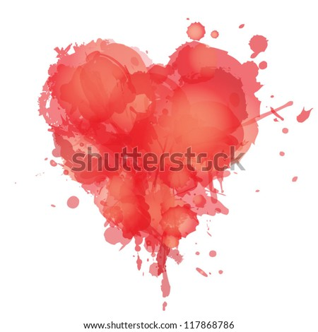 Heart with splashes of red watercolor / Love and murder