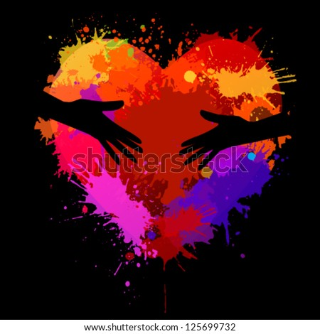 Heart with spots of paint. vector - stock vector