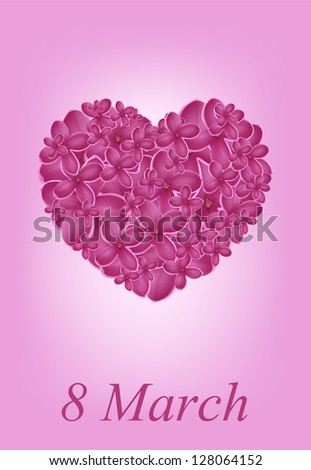 heart with spring lilac, may be used as a Women's Day backdrop - stock vector