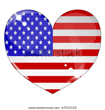 Heart with US flag texture isolated on a white background. Flag easy to replace