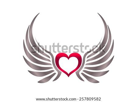 Heart Wings Stock Vector Royalty Free 257809582 Shutterstock