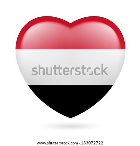 Heart with Yemeni flag colors. I love Yemen  - stock vector