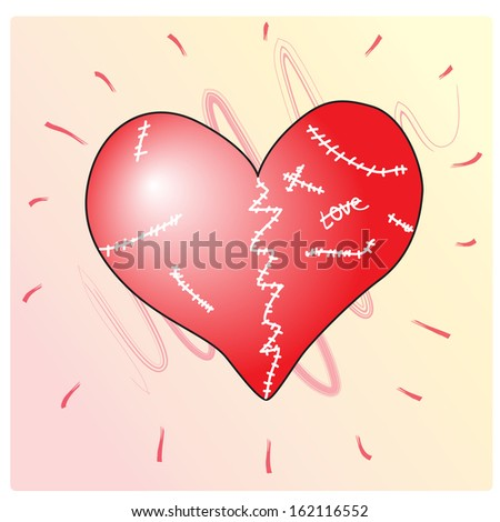 Heart wounded and broken but healed. Vector illustration - stock vector