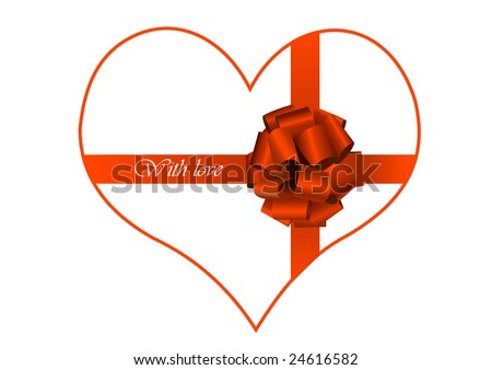 heart wrapped by silk tape. valentine card - stock vector