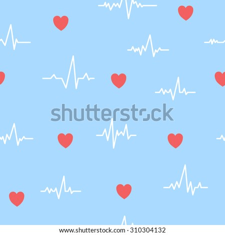 Heartbeat ECG seamless pattern. Vector background cardiogram pulse illustration. Heartbeat pattern on blue background. Medical theme for brochures, flyers, textile etc - stock vector