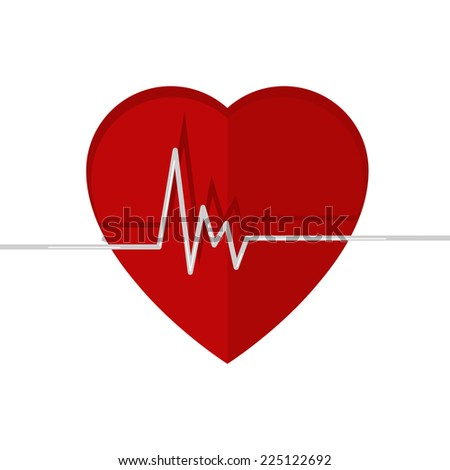 Heartbeat. Echocardiography. Cardiac exam. Form of heart and heartbeat. Isolated on a white background. - stock vector