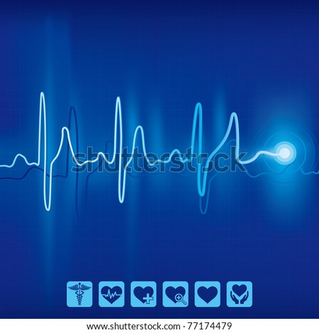 heartbeat ekg pulse tracing on blue background,medical and health icon - stock vector