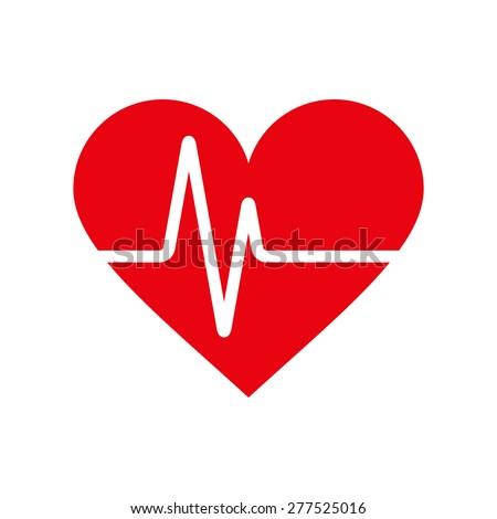 Heartbeat icon. Electrocardiogram, ecg or ekg isolated on white background - stock vector