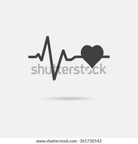 Heartbeat icon. Electrocardiogram, ecg or ekg isolated with shadow. - stock vector