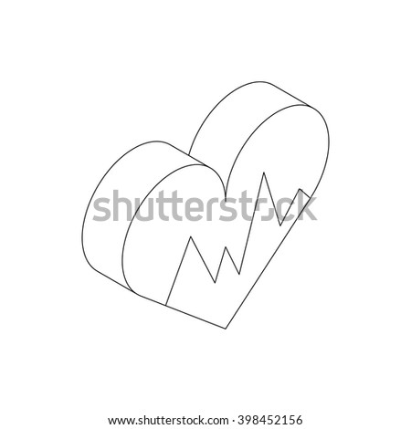 Heartbeat icon, isometric 3d style - stock vector