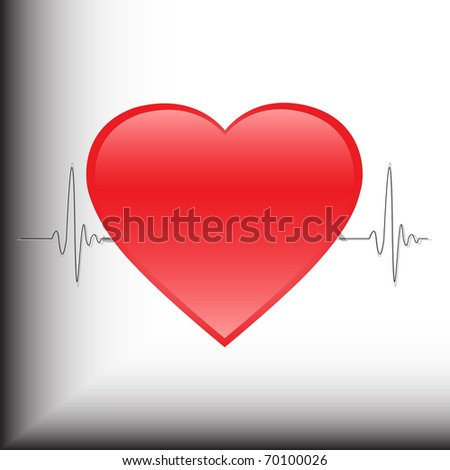 Heartbeat in the background of the electrocardiogram, vector illustration, eps10