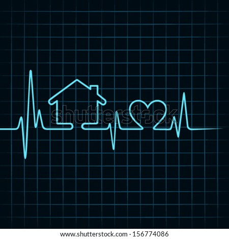 Heartbeat make a home and heart icon stock vector - stock vector