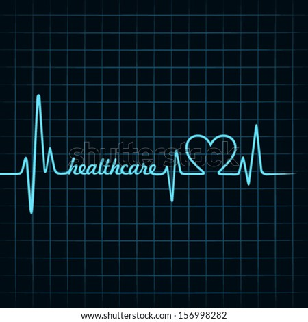 heartbeat make healthcare text and heart symbol stock vector - stock vector