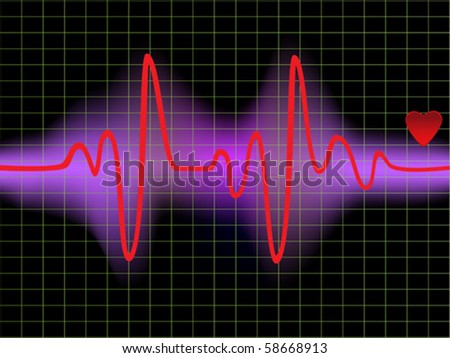 Heartbeat monitor with a heart