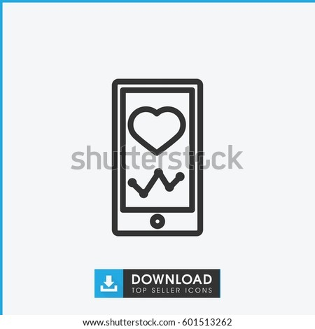 Heartbeat On Phone Icon Simple Outline Stock Vector 601513262