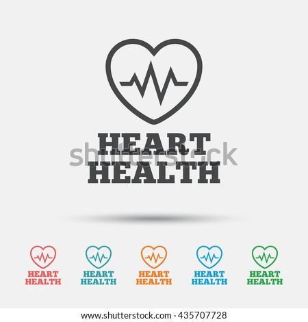 Heartbeat Sign Icon Heart Health Cardiogram Stock Vector 435707728