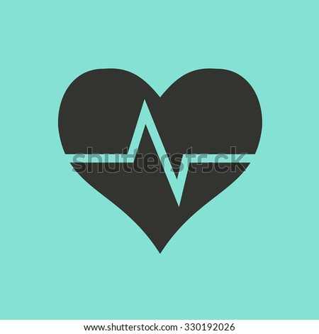 Heartbeat sign  icon  on green background. Vector illustration. - stock vector