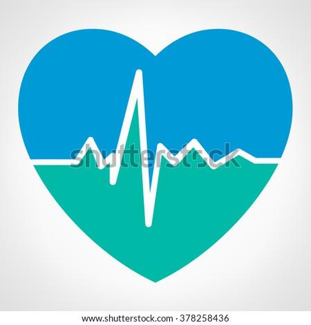 Heartbeat sign - vector illustration  - stock vector