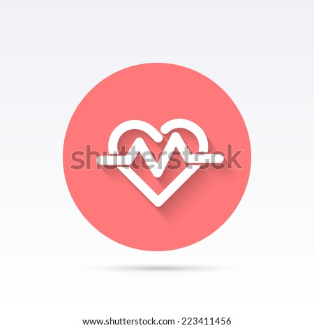 Heartbeat symbol - vector illustration. Flat style design. - stock vector