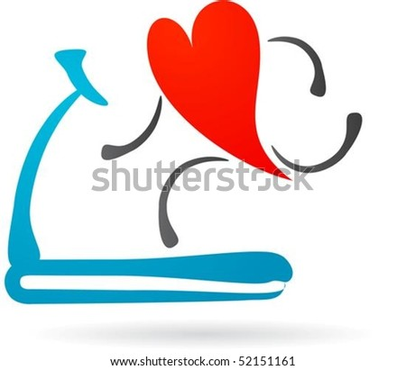 Hearth character running on a treadmill - stock vector
