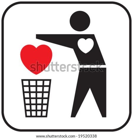 Heartless (conceptual icon). - stock vector