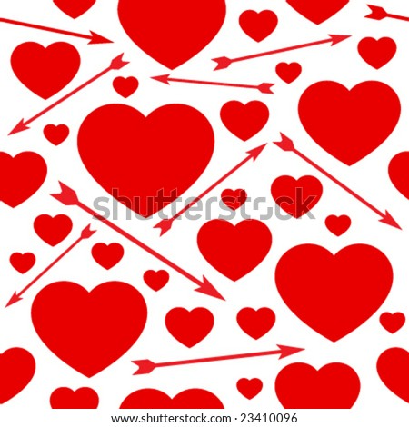 Hearts and arrows seamless background.  (See more seamless backgrounds in my portfolio). - stock vector