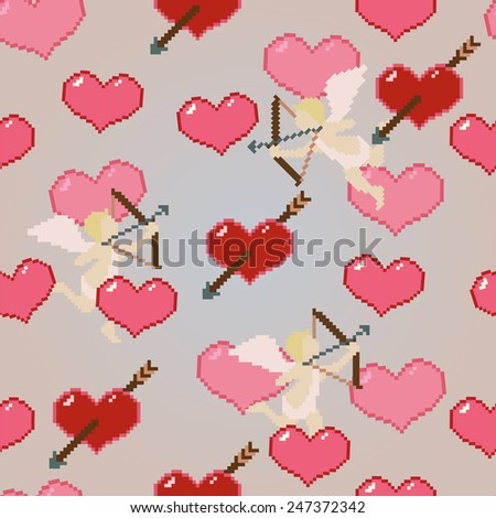 hearts and cupids pixel art pattern - stock vector