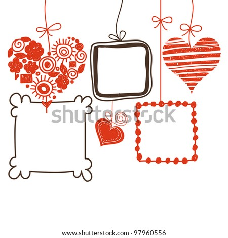 Hearts and doodle frames for text or photo - stock vector