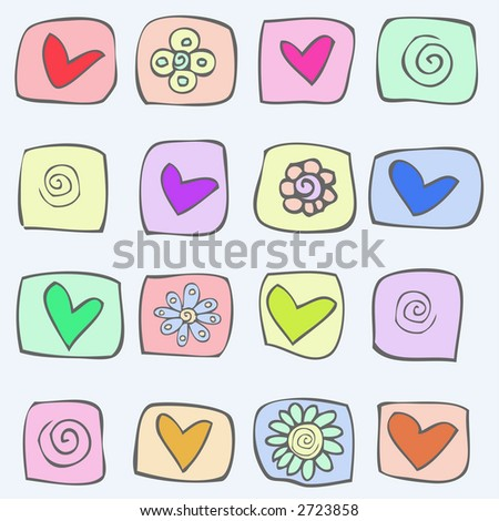 hearts and flowers - stock vector