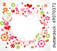 Hearts and flowers frame - stock photo