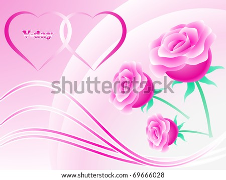 Hearts and roses. Valentine's day composition, EPS10. - stock vector