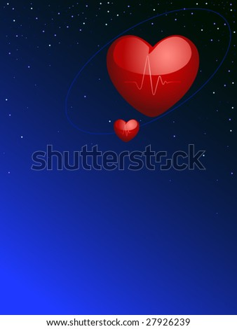 hearts are in space - stock vector