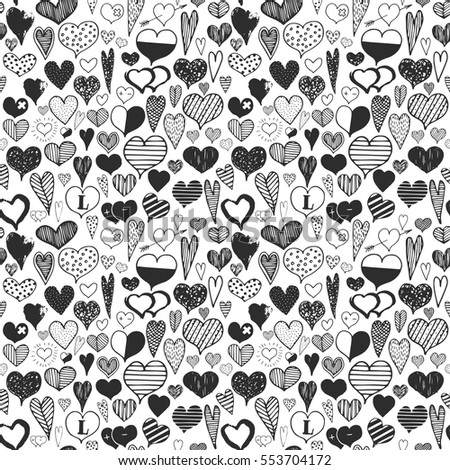 Hearts black valentines day celebration doodle hand drawing seamless celebration background