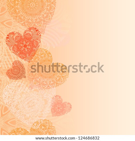 Hearts card with lace hearts - stock vector