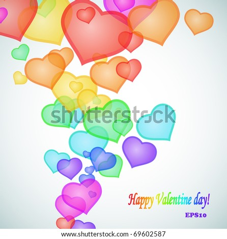 Hearts coming up like bubbles. Valentine's day composition, EPS10. - stock vector