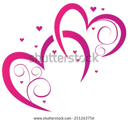 Hearts. Elements for design for Valentine's Day - stock vector