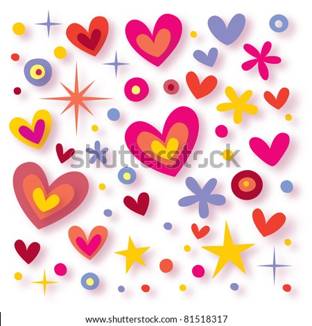 hearts flowers stars seamless background