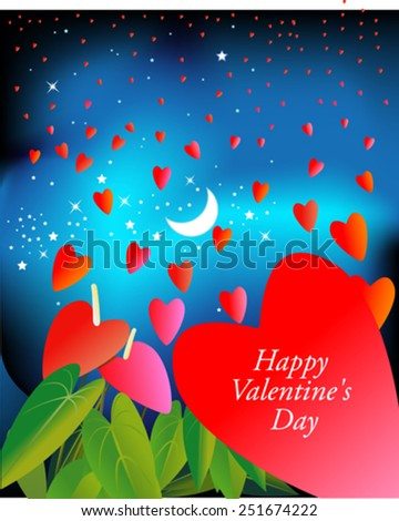 Hearts flying in the sky/Valentine - stock vector
