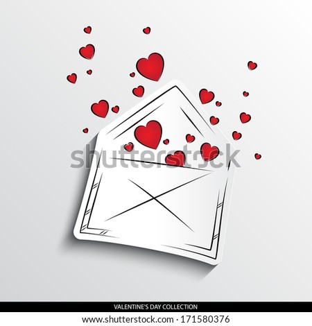 Hearts flying out of the envelope abstract silhouette on white paper background. Valentine's day vector collection.