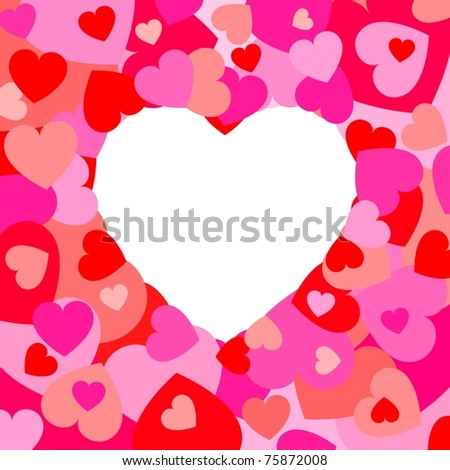 Hearts - Frame - stock vector