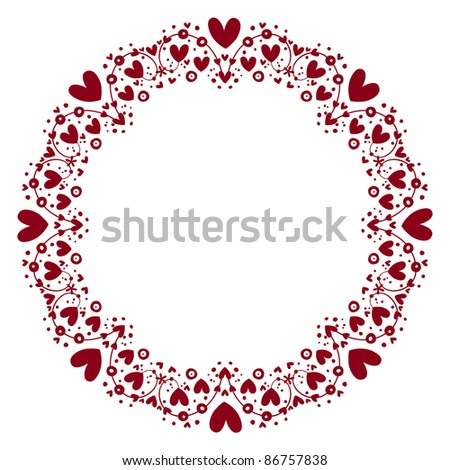hearts frame - stock vector