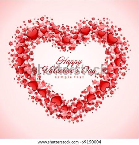 Hearts frame Valentine's day vector background - stock vector