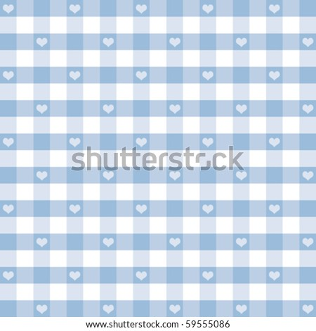 Hearts & Gingham Seamless Pattern. Old fashioned design in pastel blue for baby books, scrapbooks, albums, crafts & backgrounds. EPS8 file has pattern swatch that will seamlessly fill any shape. - stock vector