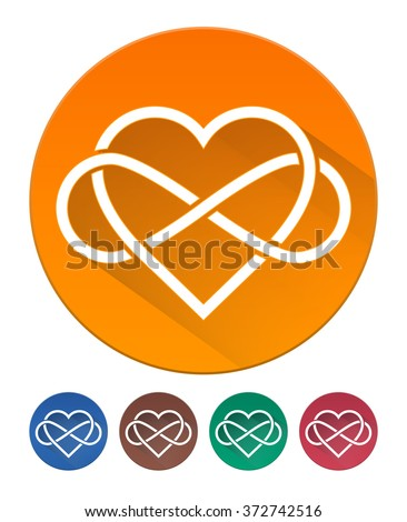 Hearts Icon Flat. Intertwined Heart with The Sign of Infinity. 5 Isolated Items - stock vector
