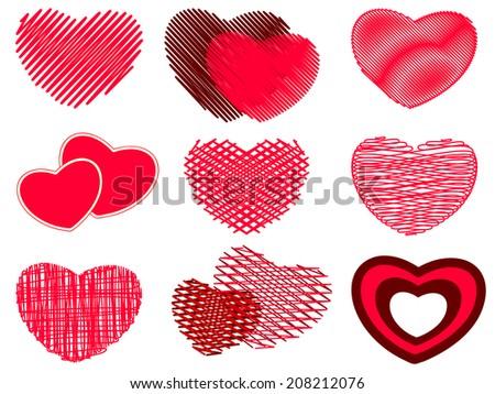 Hearts icons - stock vector