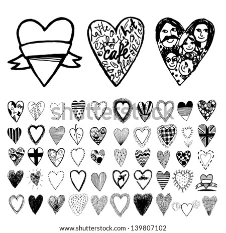 Hearts. Icons set. Vector. - stock vector