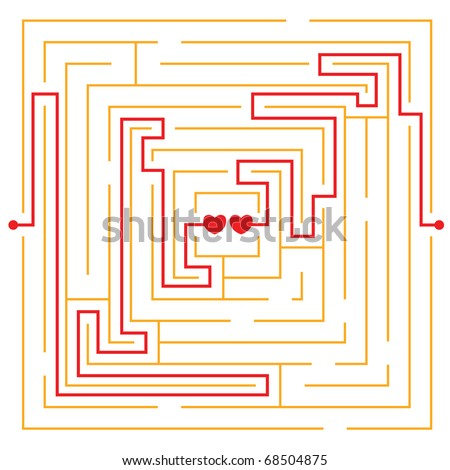 hearts in love labyrinth - stock vector