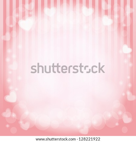 hearts in pink vector background - stock vector