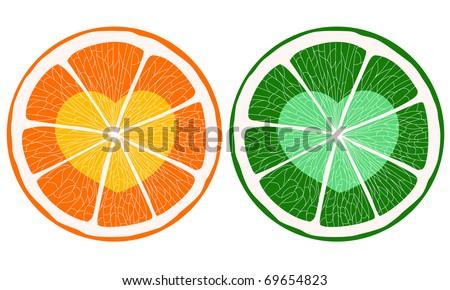 Hearts inside citrus slice. - stock vector