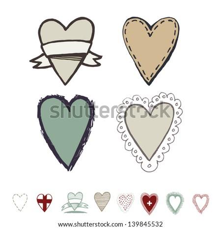 Hearts labels. Vector. - stock vector